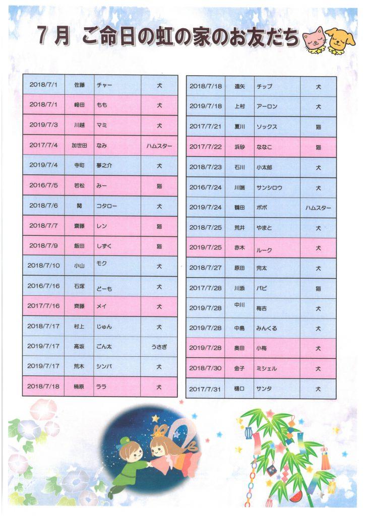 7月命日表