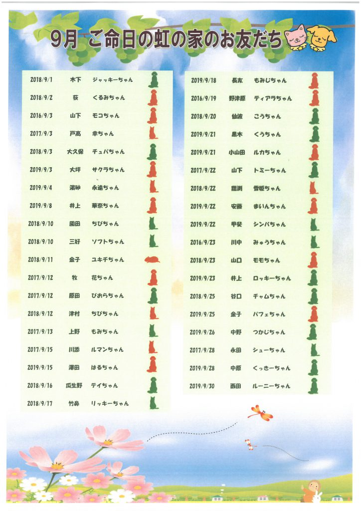 9月命日表